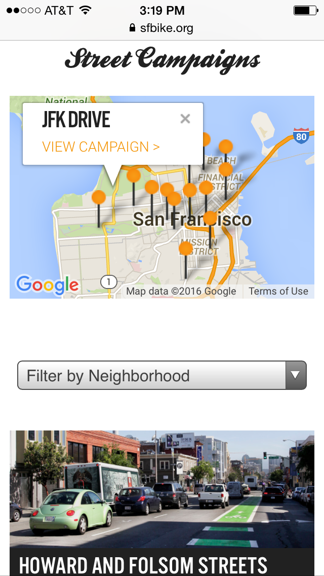 Mobile Campaigns page