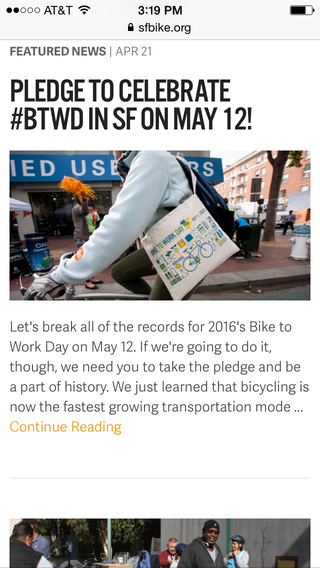 Mobile News page